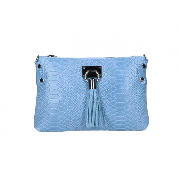Kožená kabelka MI42 nebesky modrá Made in Italy Nebesky modrá