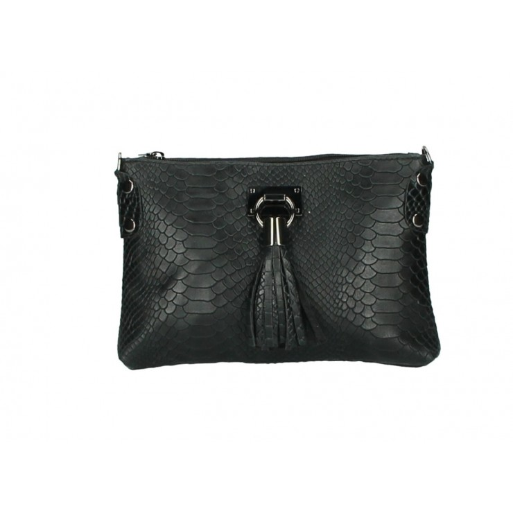 Kožená kabelka MI42 čierna Made in Italy