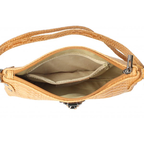 Kožená kabelka MI42 šedohnedá Made in Italy Šedohnedá