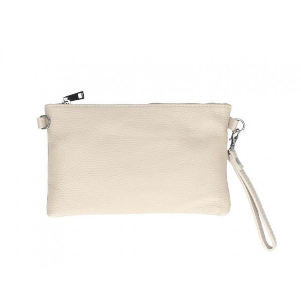 Kožená kabelka MI49 béžová Made in Italy Béžová