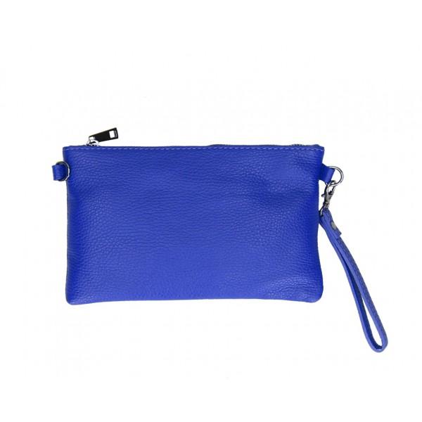 Kožená kabelka MI49 azurovo modrá Made in Italy Modrá