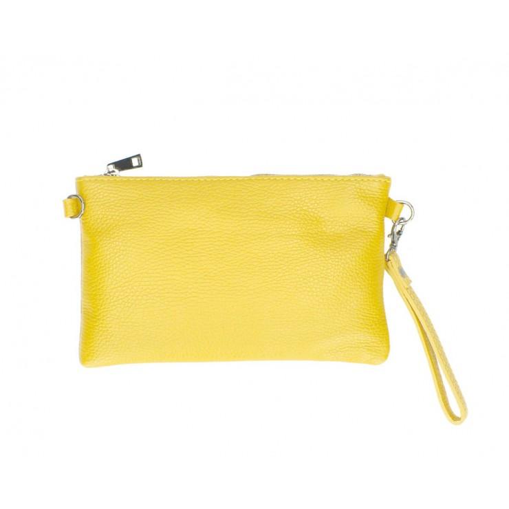 Kožená kabelka MI49 žltá Made in Italy