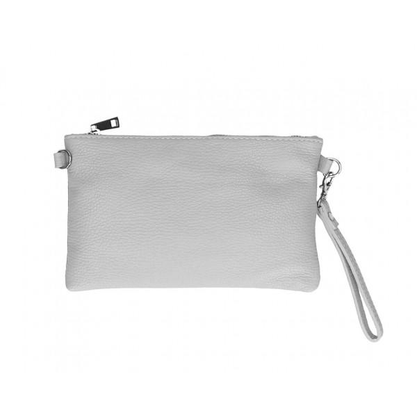 Kožená kabelka MI49 šedá Made in Italy Šedá