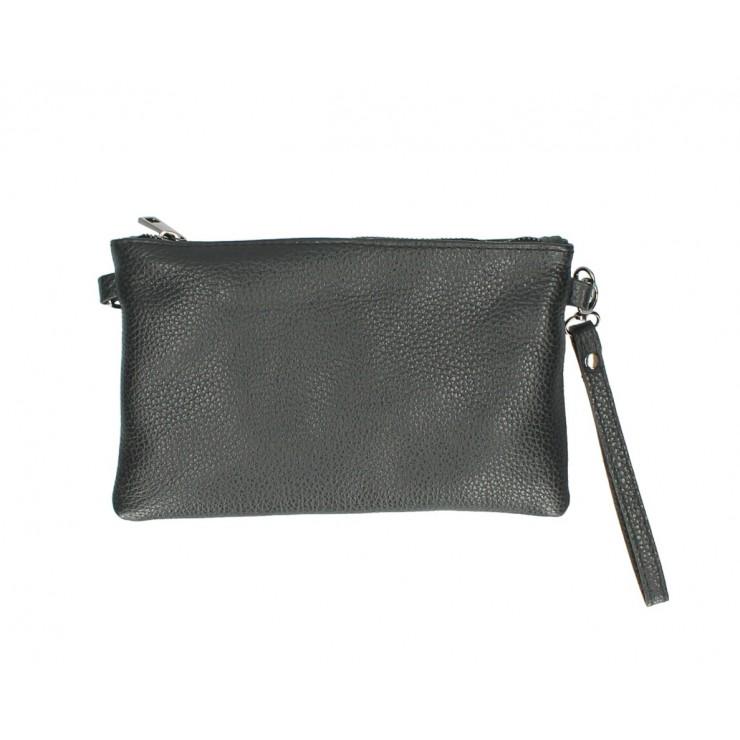 Kožená kabelka MI49 čierna Made in Italy
