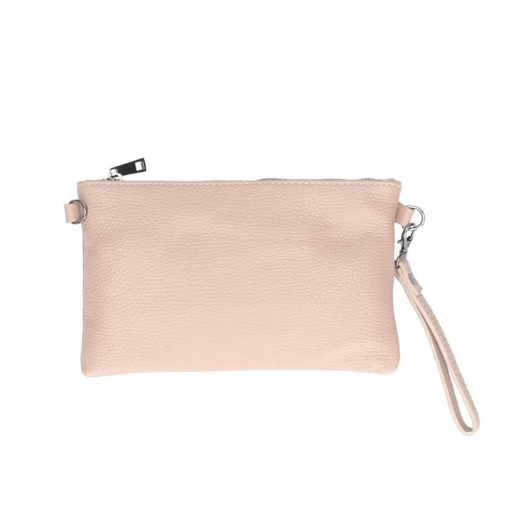 Kožená kabelka MI49 pudrovo ružová Made in Italy