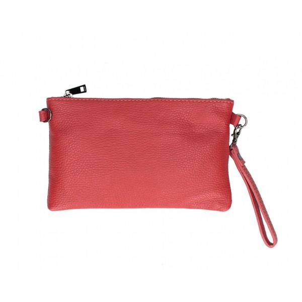 Kožená kabelka MI49 červená Made in Italy Červená