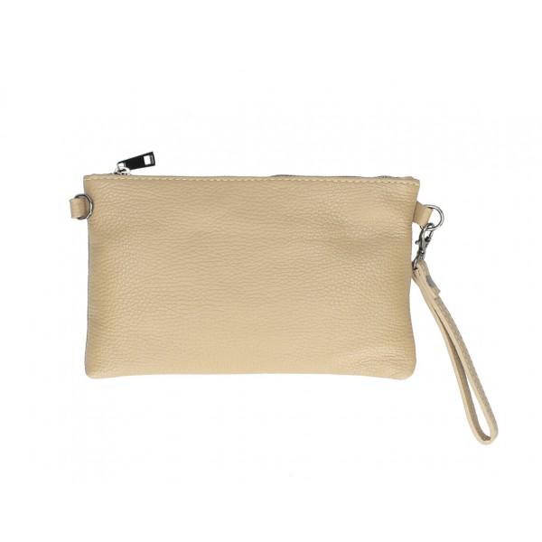 Kožená kabelka MI49 šedohnedá Made in Italy Šedohnedá