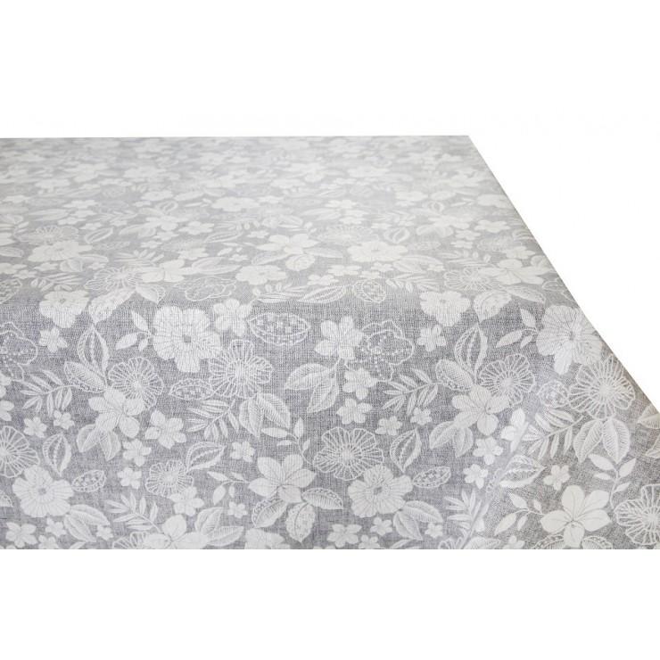Bavlnený obrus šedý s bielymi kvetmi Made in Italy