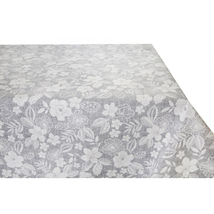 Cotton tablecloth gray with white flowers  Made in Italy