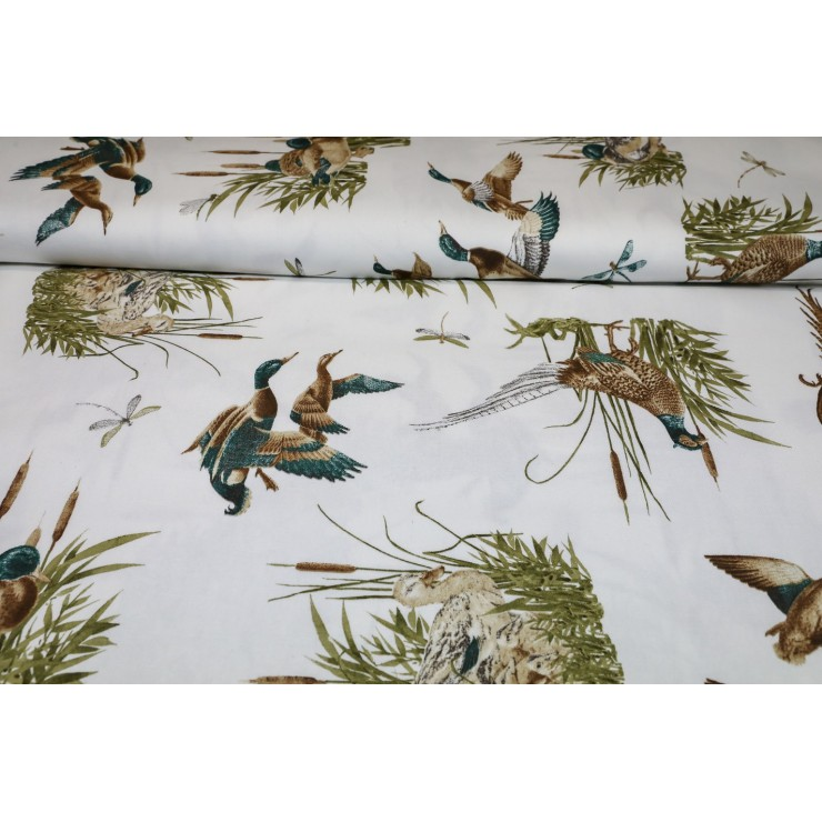 Fabric Cotton panama ducks and pheasants, h. 140 cm