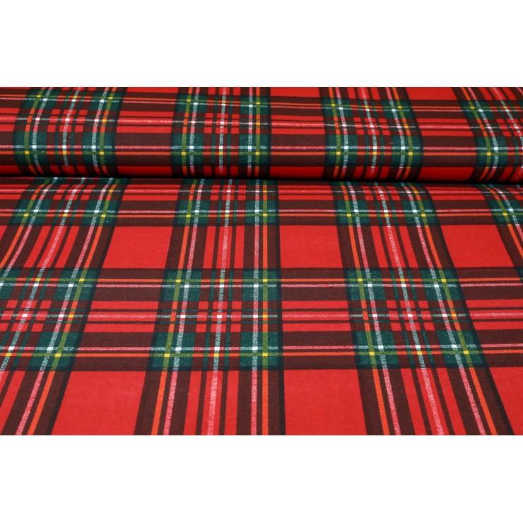 Látka bavlna skotská kostka červená, š. 140 cm