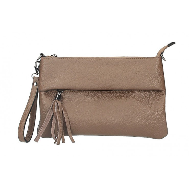 Genuine Leather Handbag 1492 dark taupe