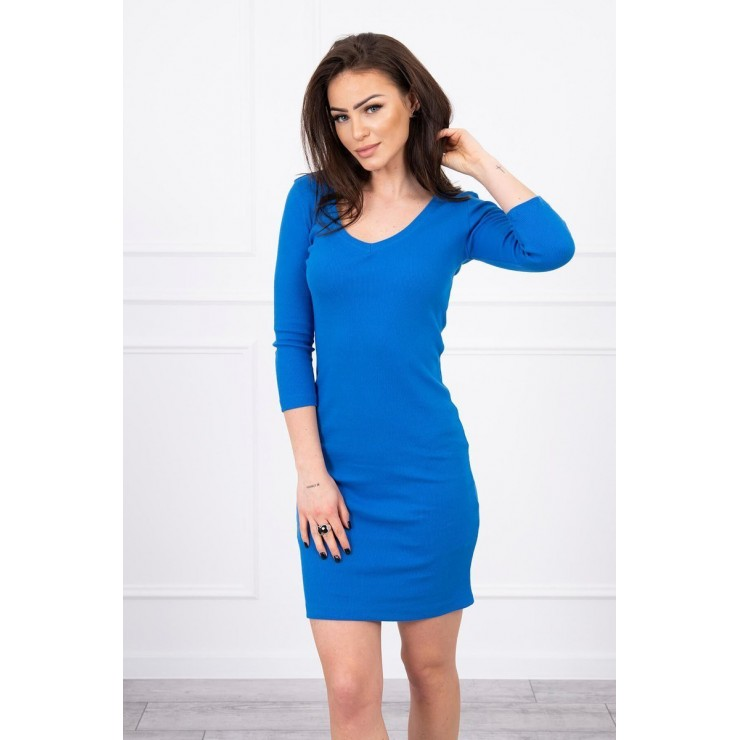 Women's neckline dress MI8863 azure blue