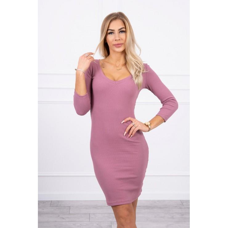 Women's neckline dress MI8863 dark pink