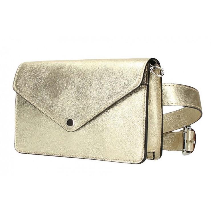 Kožená kabelka na rameno/na opasek 1002 zlatá Made in Italy