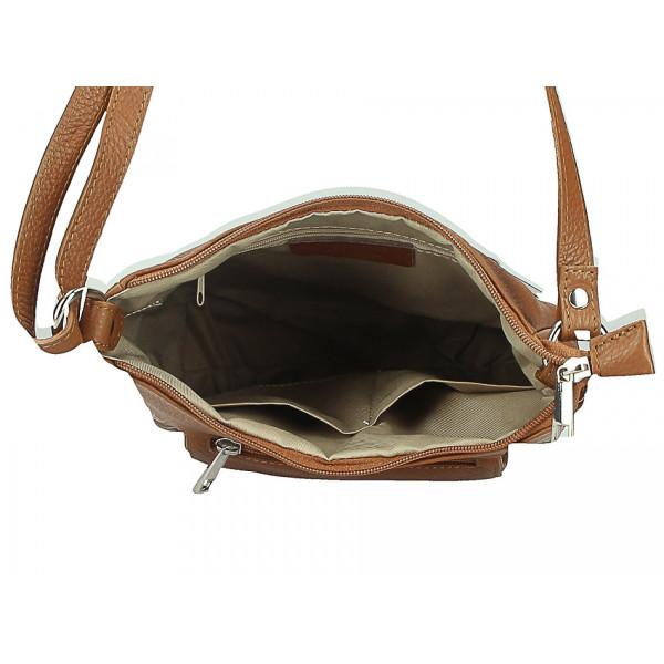 Kožená kabelka na rameno 1489 koňaková Koňak
