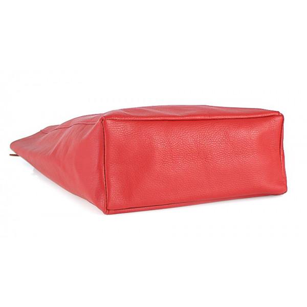 Kožená shopper kabelka 396 červená