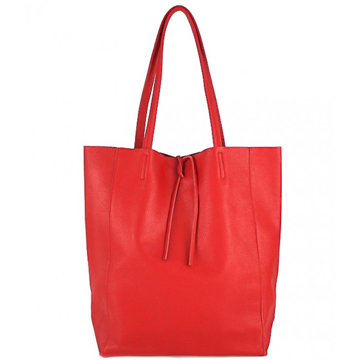 Genuine Leather Maxi Bag 396 red