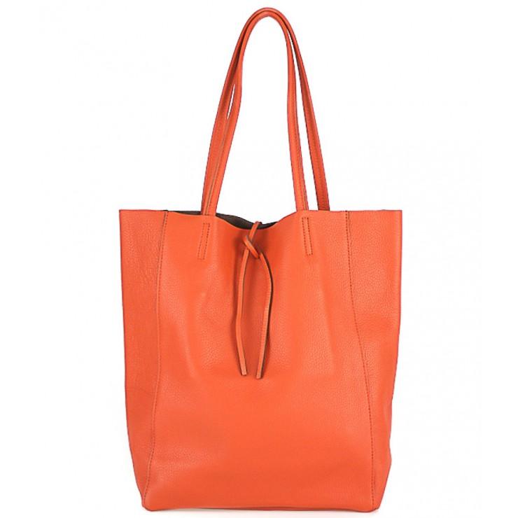 Kožená shopper kabelka 396 oranžová