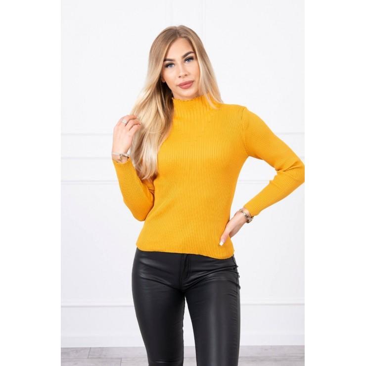 Women's thin turtleneck S5078 mustard