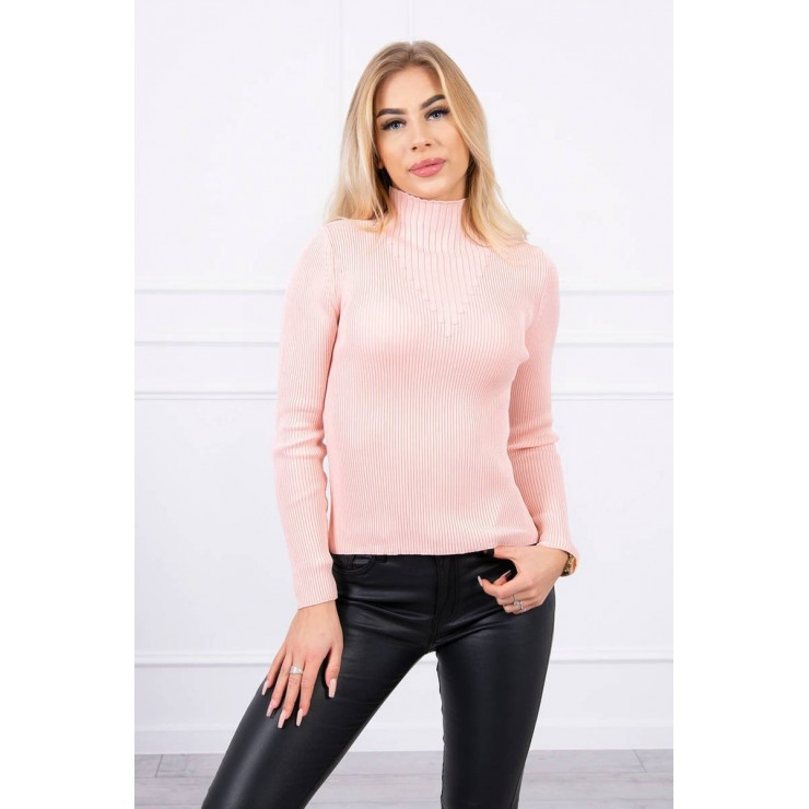 Women's thin turtleneck S5078 powder pink