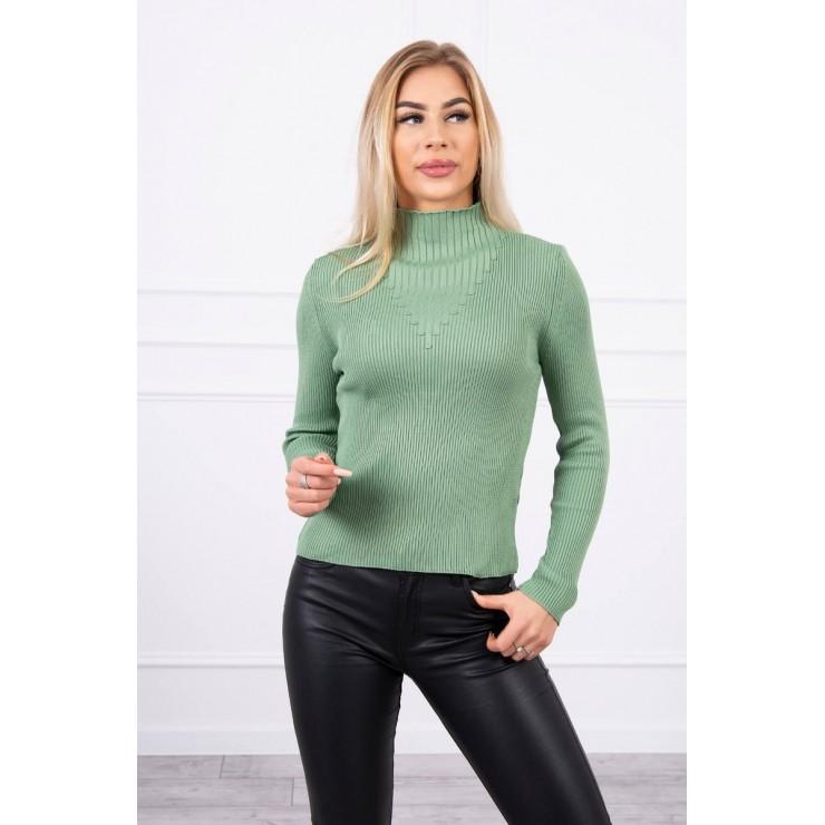 Women's thin turtleneck S5078 dark mint