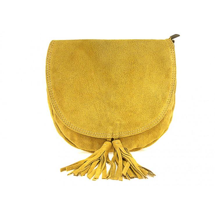Kožená kabelka na rameno 703 okrová