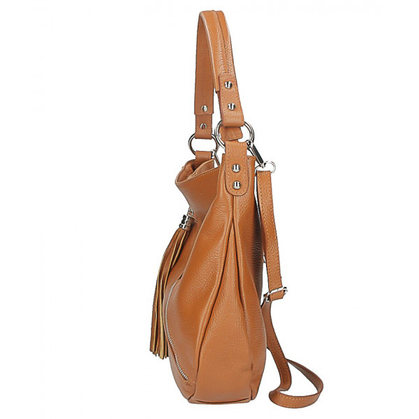 Dámska kožená kabelka 259 tmavomodrá