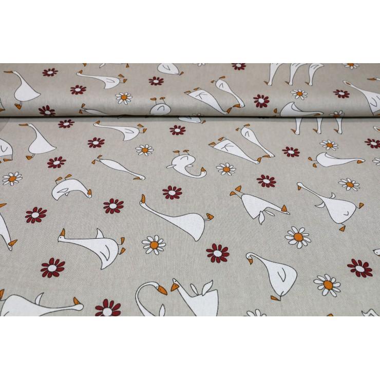 Dekorační látka Husy, šírka 140 cm
