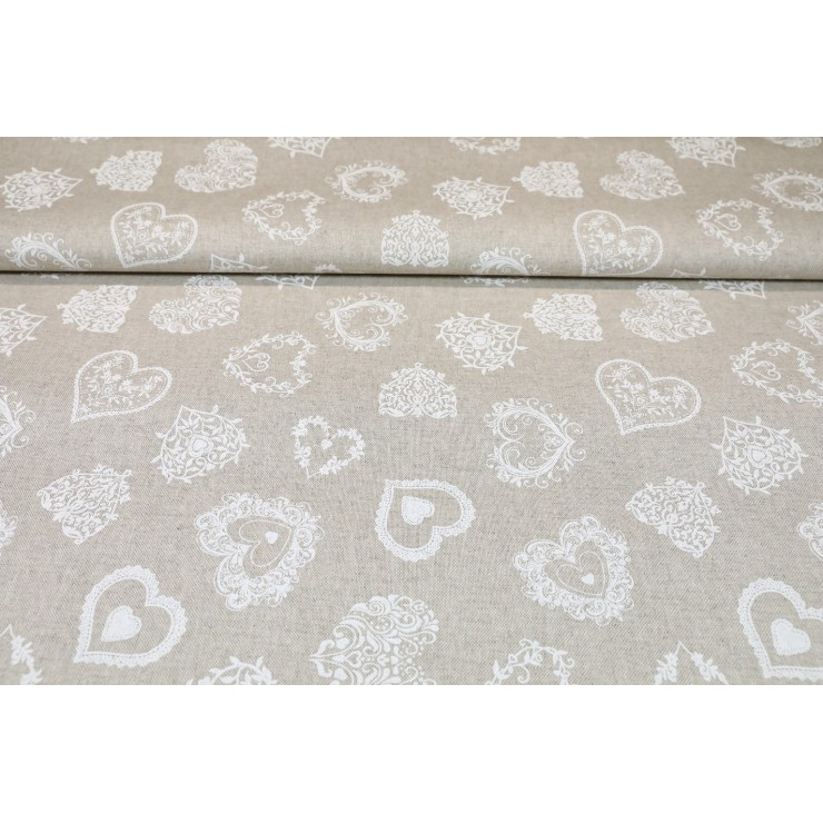 Fabric white hearts
