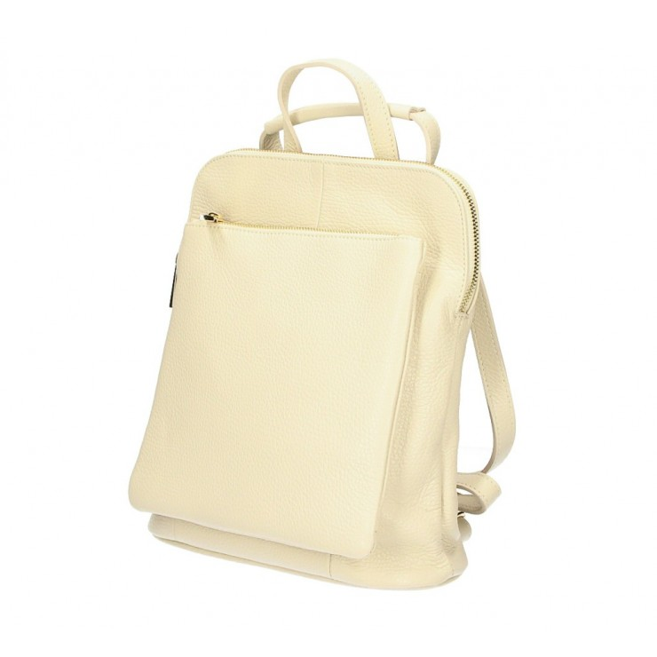 Leather backpack MI899 beige Made in Italy