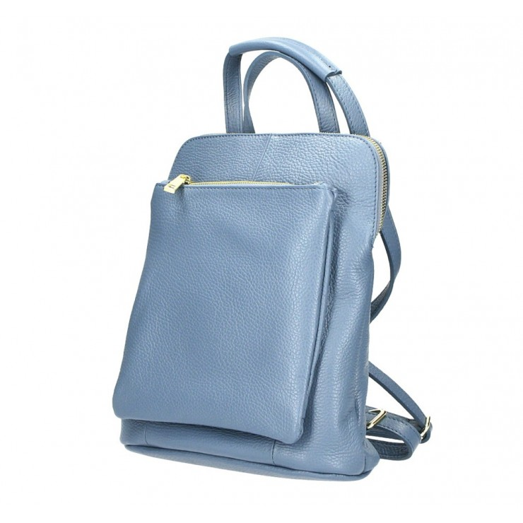 Leather backpack MI899 azure blue Made in Italy