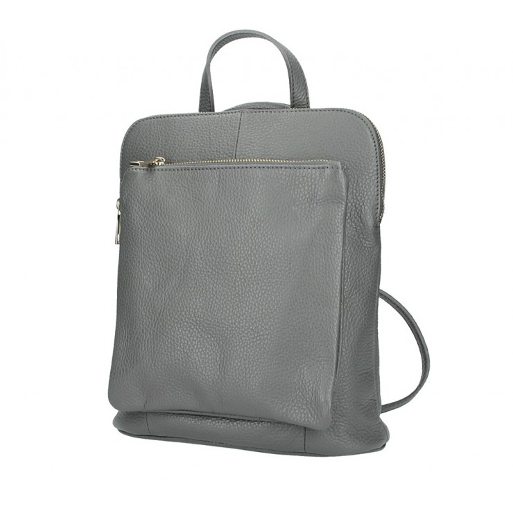 Leather backpack MI899 dark gray Made in Italy