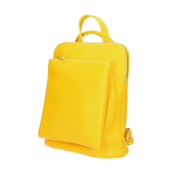 Dámský kožený batoh MI899 žlutý Made in Italy