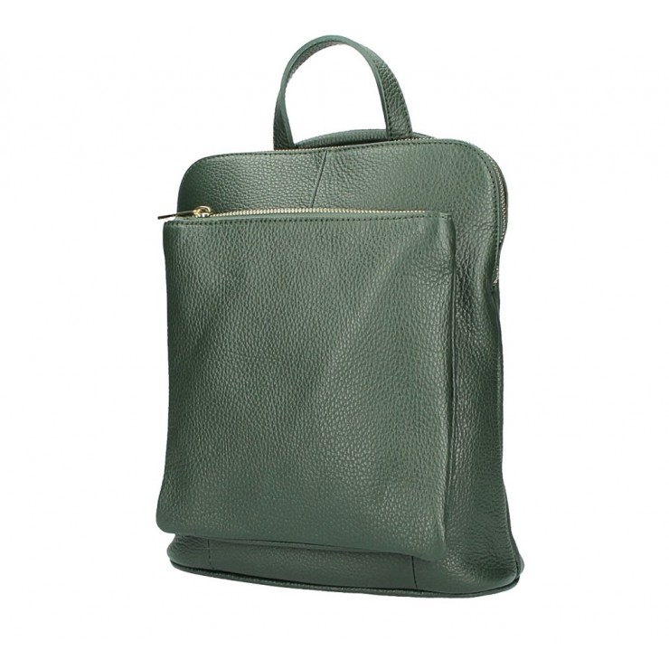 Leather backpack MI899 dark green Made in Italy