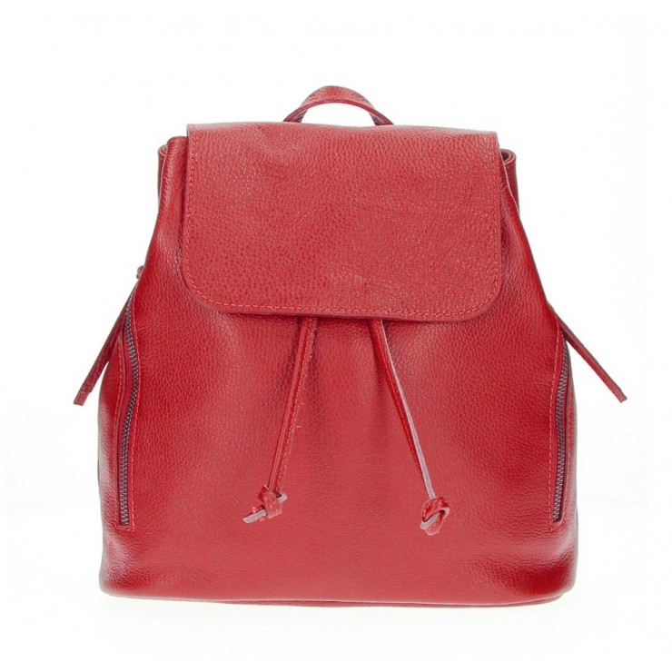 Leather backpack 420 red Made in Italy