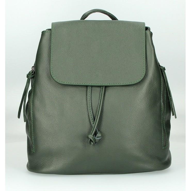 Dámský kožený batoh 420 tmavozelený Made in Italy