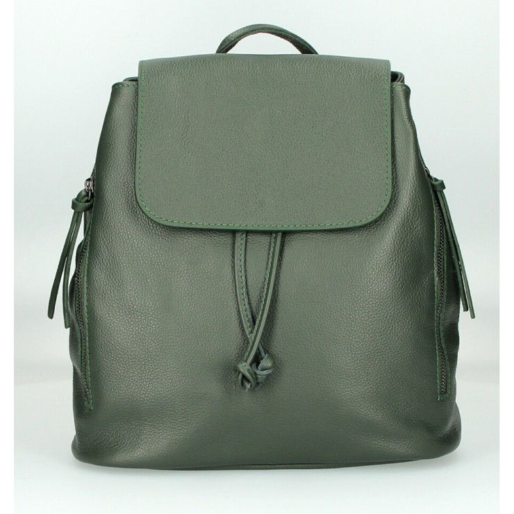 Leather backpack 420 dark green Made in Italy