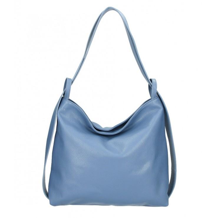 Leather shoulder bag 579 azure blue Made in Italy