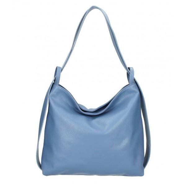 Kožená kabelka na rameno 579 blankytne modrá Made in Italy Blankytna modrá