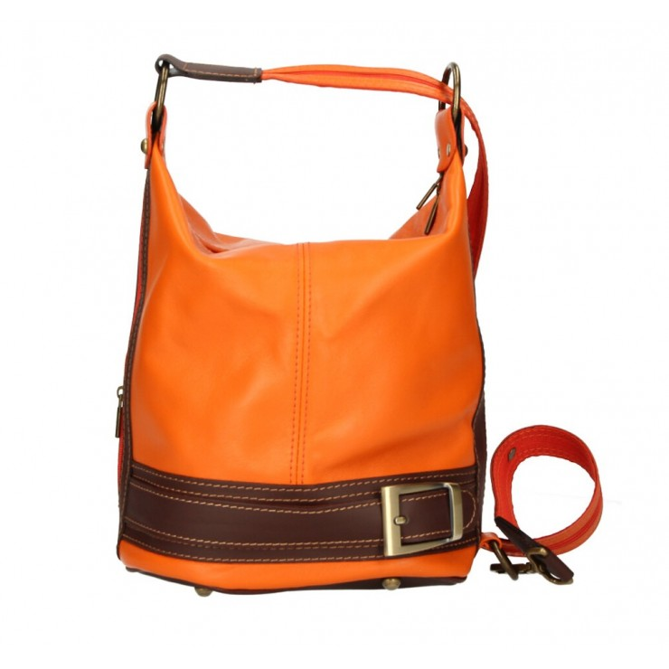 Genuine Leather Shoulderbag/Backpack 1201 orange Made in Italy