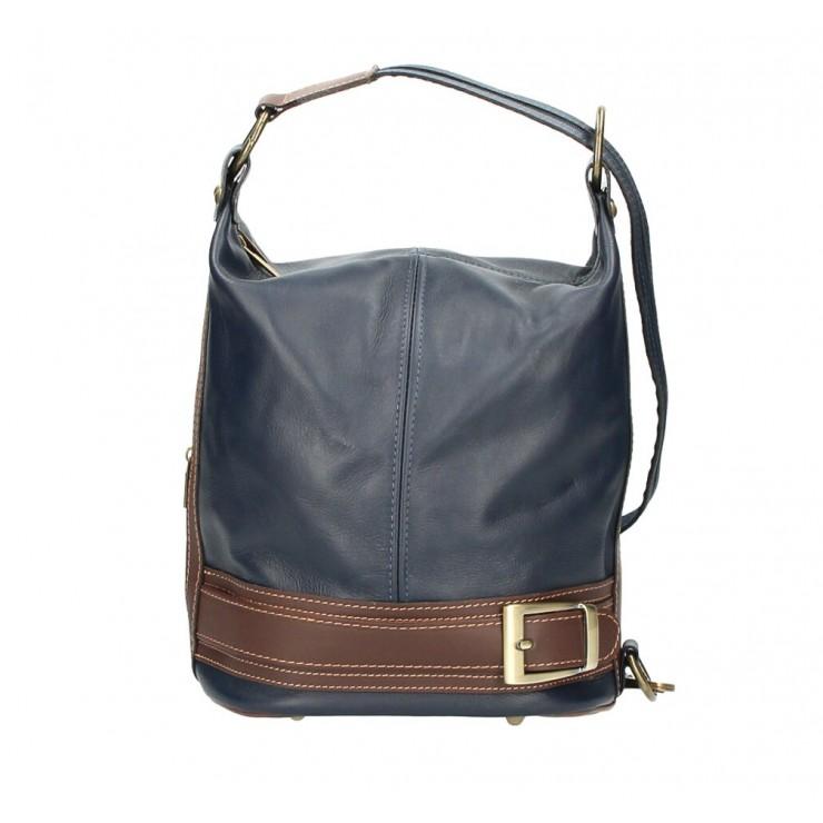Dámska kožená kabelka/batoh 1201 tmavomodrá Made in Italy
