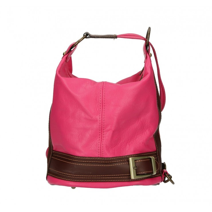 Genuine Leather Shoulderbag/Backpack 1201 fuxia Made in Italy