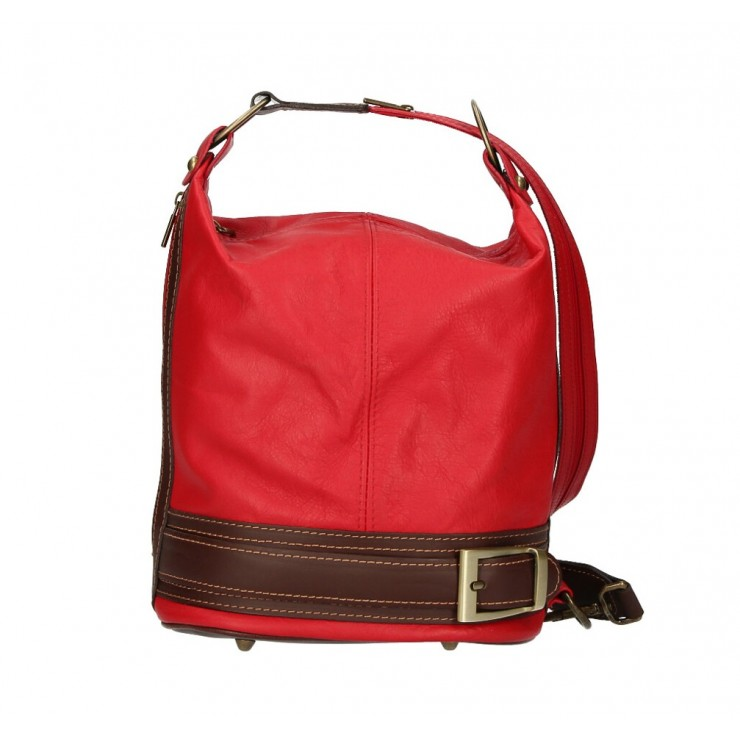 Dámska kožená kabelka/batoh 1201 červená Made in Italy