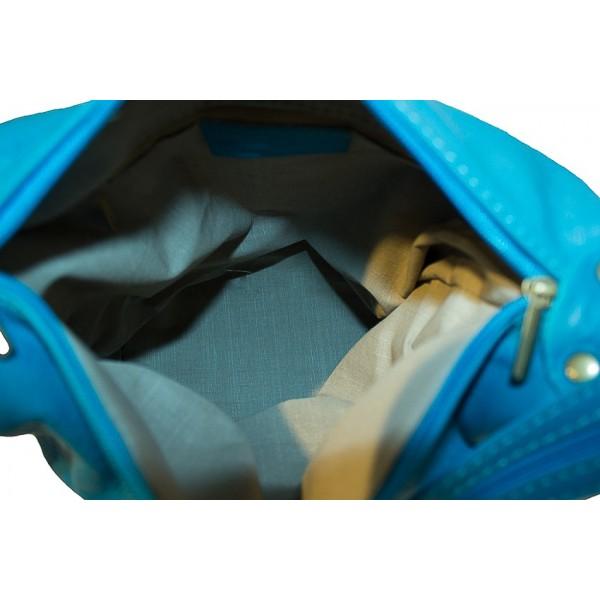 Dámska kožená kabelka/batoh 1201 červená Made in Italy Červená