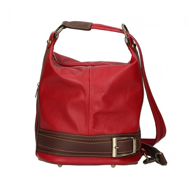 Dámska kožená kabelka/batoh 1201 tmavě rudá Made in Italy