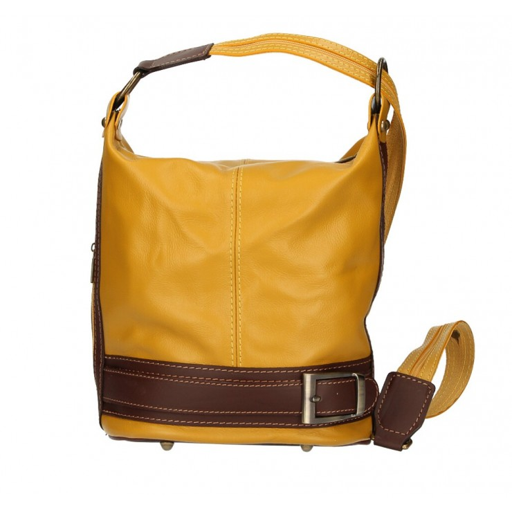 Genuine Leather Shoulderbag/Backpack 1201 mustard Made in Italy