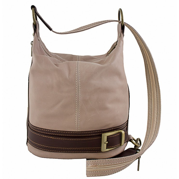 Genuine Leather Shoulderbag/Backpack 1201 gray-brown Made in Italy