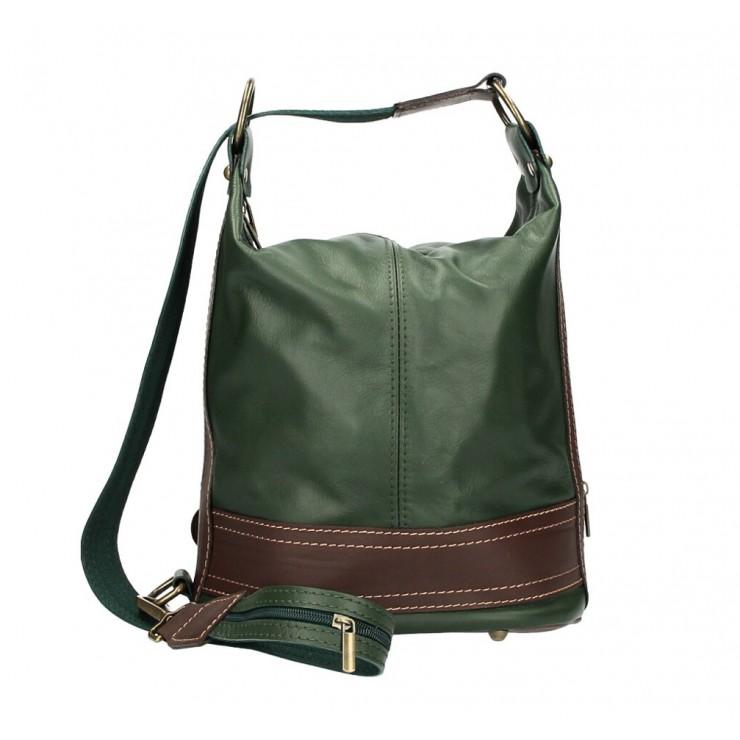 Dámska kožená kabelka/batoh 1201 tmavozelená Made in Italy