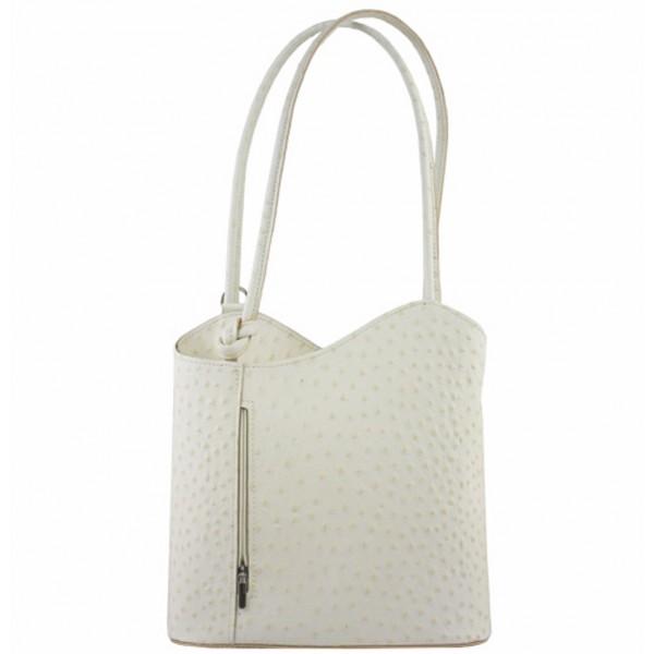 Kožená kabelka na rameno/batoh 1260 béžová Made in Italy Béžová